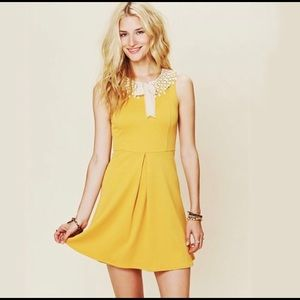 Free People Yellow With Crochet Lace Collar XS